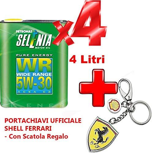 4 Litri Olio LUBRIFICANTE Petronas SELENIA Pure Energy WR Wide Range 5W30 ACEA C2 +Portachiavi Ufficiale Shell Ferrari - con Scatola Regalo