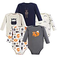 Hudson Baby Unisex Baby Cotton Long-Sleeve Bodysuits, Forest, 3-6 Months