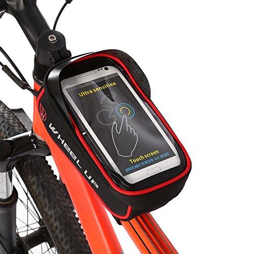 Wasserdichte Fahrrad Rahmentasche Lenkertasche Handytasche Touchscreen Tasche mit Datenkabel für Fahrrad Radfahren Black+Red