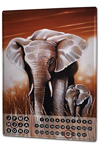 Calendario perpetuo Motivos Elefantes Asia Warminski elefante par Metal Imantado