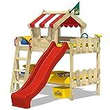 WICKEY Etagenbett CrAzY Circus Kinderbett Hochbett mit Rutsche, Dach und Lattenboden - Rote Plane + rote Rutsche