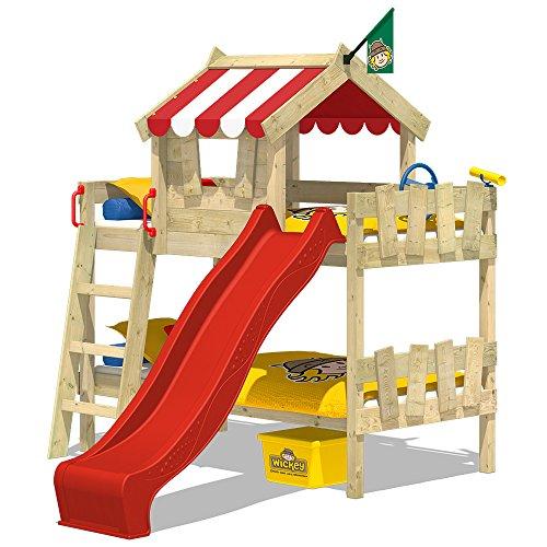 WICKEY Letti a castello CrAzY Circus Culla Letto a soppalco con scivolo, tetto e con rete a doghe, telone rosso + scivolo rosso