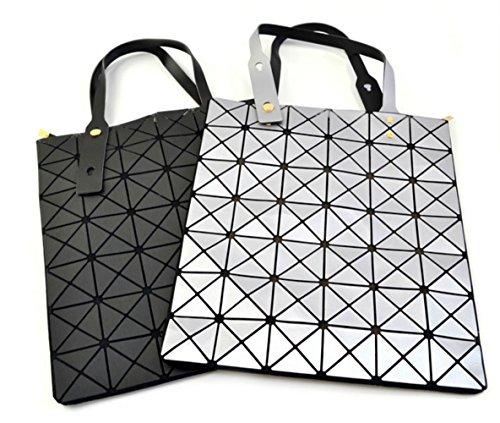 Moderne Tasche Geometrisches Muster Diamantgitter in Metallfarben: Silber, Schwarz Silber
