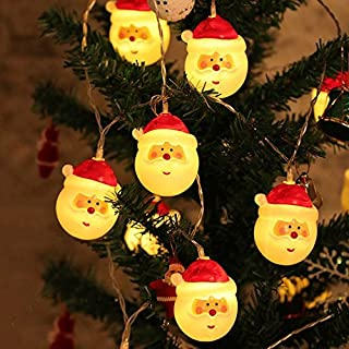 AndThere 20 LED Chritmas Light String Lights Fairy Santa Claus Light Battery Operated 3M/10ft Lights Indoor Decoration Lamp for Festival Holidays Home New Year Party