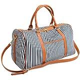 BAOSHA HB-25 Canvas Holdalls Frauen Damen Segeltuch Reisetaschen Handgepäck Weekender Tasche Travel Duffels mit Gestreift und PU Leder Dekoration (Blau Streifen)