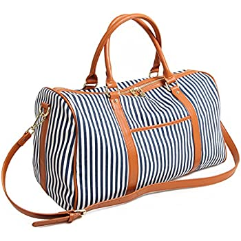 Canvas Holdall Bag, Elenture Ladies Women Leather Trim Canvas ...