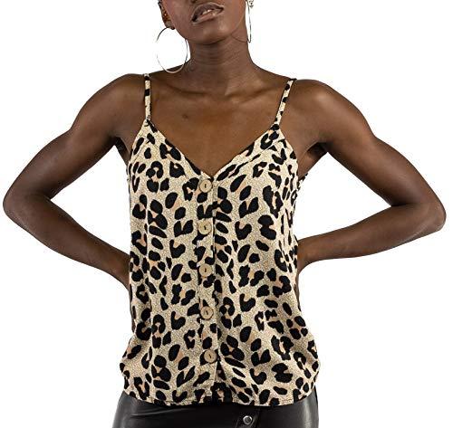 Mer's Style - Top Lencero con Tirantes Leopardo para Mujer, Marrón