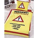 Global Labels Freche Bettwäsche als Geschenksidee, Deckenbezug: ca. 140cm x 200cm, Kissenbezug: ca. 70cm x 90cm, 100% Baumwolle (Vorsicht Teenager)