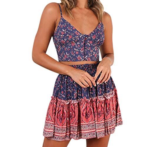KItipeng Damen Bohemia Ärmellos Strandkleid V-Ausschnitt Blumendruck Sommerkleid Schulterfrei Rückenfreies Beiläufig Sexy A-Linie Plissiert Sling Minikleid