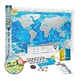 Weltkarte zum Rubbeln Große Detaillierte - Rubbel Weltkarte Poster 88x62cm Delux Silber - Premium Qualität Landkarte Freirubbeln - Scratch off World Travel Map Geschenk für Reisende - Discovery Map