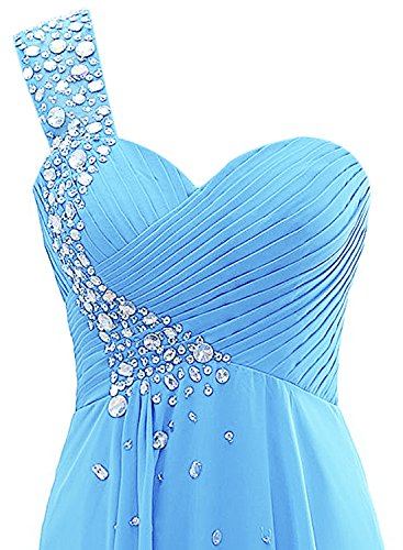 Azbro Women's One Shoulder Sweetheart Rhinestone Long Bridesmaid Dress Russet Red