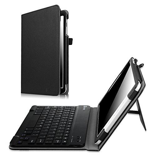 Fintie Samsung Galaxy Tab E 9.6 Bluetooth Tastatur Hülle Keyboard Case - Slim Fit Kunstleder Stand Tasche mit Hochwertige [All-ABS Hartes Material] Abnehmbar Drahtlos [Langlebige Batterie] Bluetooth Tastatur für Samsung Galaxy Tab E T560N / T561N 24,3 cm (9,6 Zoll) Tablet-PC, Schwarz