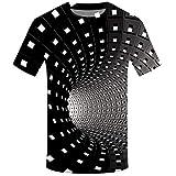 MIRRAY Mode pour des Hommes 3D Impression Rond Cou Court Manche Chemise Haut Chemisier Noir 3XL