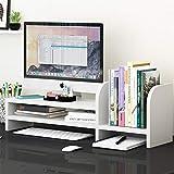 KKLTWU Legno Multiuso Supporto Monitor, Ufficio Scrivania Organizzatore 2 Livelli con Mensola per Libri Multiuso Archiviazione Salvaspazio Organizer da Scrivania-b 70x24x20cm(28x9x8inch)