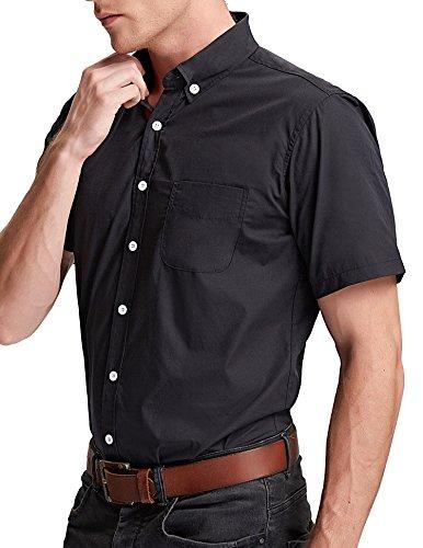 Paul Jones® Stilvolle Slim Fit Kurzarm Freizeithemden Modisches Businesshemd Casual Shirt Schwarz