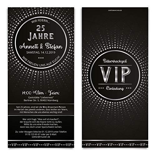 30 x Hochzeitseinladungen individuelle Einladungskarten Silberhochzeit - Schwarz/Silber VIP