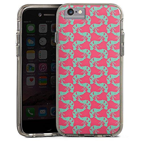 Apple iPhone 6 Plus Bumper Hülle Bumper Case Glitzer Hülle Shrimps Mer Meer Bumper Case transparent grau