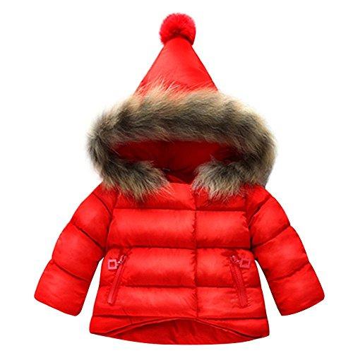 BAINASIQI Baby Jungen Mädchen Kapuzenjacke Steppjacke Mantel Warme Winterjacke Niedliche Baumwolle Outerwear (100 (Höhe 90-100cm), Rot) (Mädchen Kleinkinder Jacke)