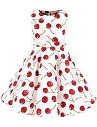 acad475889180 SXSHUN Robe Fille Enfant de Bal Polka Vintage pin-up à  Audrey Hepburn