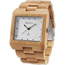 Alienwork Quartz Watch natural bamboo Wristwatch Handmade Bamboo white yellow UM016A-02