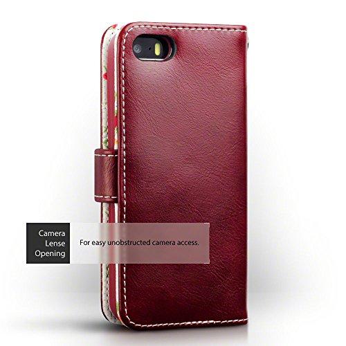 iPhone SE Cover, Terrapin Handy Leder Brieftasche Case Hülle mit Kartenfächer für iPhone SE Hülle Rot mit Blumen Interior Rot mit Blumen Interior