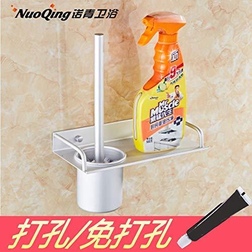 QiXian Punch Free Bathroom Toilettenbürste Set Badezimmer Raum Aluminium Toilettenbürste Regal Badezimmer Hardware Zubehör Toilettenbürste Boden Toilettenbürstenhalter Starke Stabile, A322