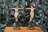 Weihnachtskrippen-Zubehör-Set mit LED-Beleuchtung Station 12-1 Kreuzigung der beiden Verbrecher,Schächer zusammen Jesus, Jesus stirbt, Mt 27,37-42- Passion Christi - für 9-10 cm Figuren