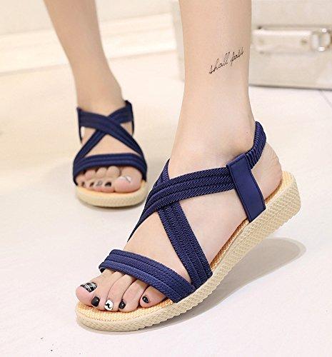 Minetom Femme Fille Été Plage Confortableable Chaussures Bohemian Sandales Plat Peep Toe Loisir Cuir D'extérieur Sandales Bleu