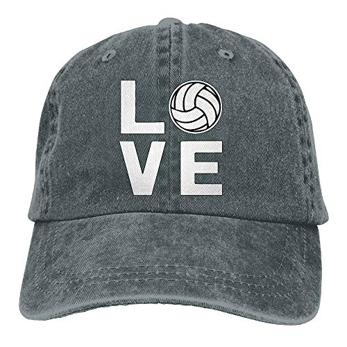 CrownLiny Unisex Love Volleyball Denim Jeanet Baseball Cap Adjustable Glacier Cap for Men Or Women
