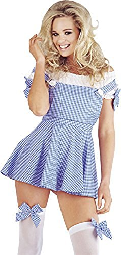 Gingham Kleid Kostüm - Mix lot Frauen, Damen-sexy Kansas Mädchen Kostüm Kleid mit Gingham Bow Stockings Größen 36-38 / 40-42 / 44/46 (Large 44, Blue Check drucken)