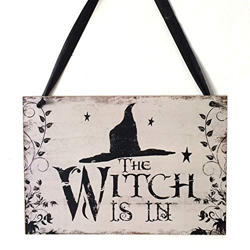 ei-Stütze im Freien hölzerne Plakette, welche die Hexe im Innenhauptweinlese-Wand-Zeichen der Dekorations-DIY mit Abzugsleine Halloween ist ()