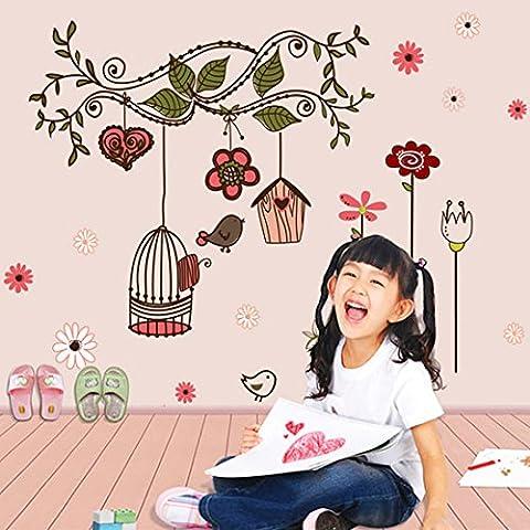 Mélange des branches, des fleurs, des oiseaux et des cages Autocollant mural de PVC à la maison papier peint en vinyle pour la décoration papier peint au salon, à la chambre et à la cuisine les photos d