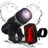 RUZER  Luce Manubrio Bici 1300 Lumen LED COB Impermeabile Coda proiettore e Faro Anteriore Supporto Ultra Potente Bianco Rosso Lampeggiante