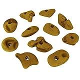 ALPIDEX 11 Klettergriffe Größe L und M - geeignet für Kinder, Anfänger aber auch für Fortgeschrittene, Farbe:gelb-meliert
