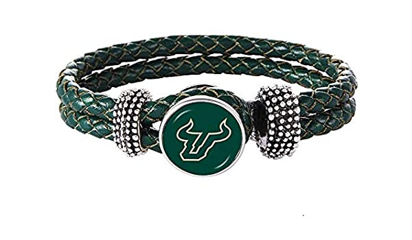 Swamp Fox University of South Florida Bulls Double Leather Band Bracelet with Charm 7 to 9