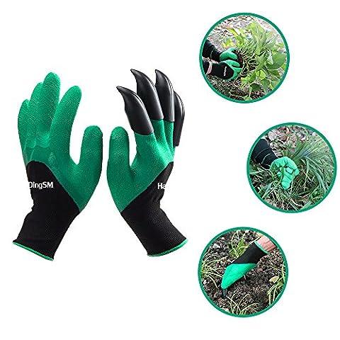 Garten Genie Handschuhe, handingsm Gartenhandschuhe mit Krallen Sicher für Graben, Pflanzen, Jäten und Beschneiden, grün