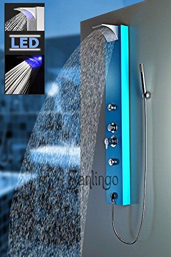 Blaues LED Sanlingo Alu Duschpaneel Duschsäule mit Wasserfall, Massaedüsen und Regendusche