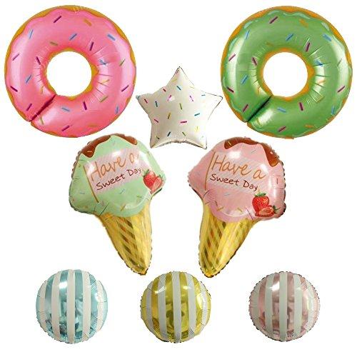 ballonfritz® Donuts Eiscreme Partyfotos Luftballon Deko Set 8-TLG. - für einzigartige Bilder bei Hochzeit, Party, Geburtstag oder Anderen Anlässen!