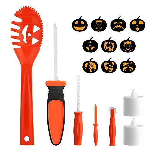 VegaHome Halloween Kürbis-Schnitzset 17 Stück, Kürbis Schnitzwerkzeuge Schnitz- Vorlagen und LED-Licht für Kinder Erwachsene Jack O'Lantern Carving Deko