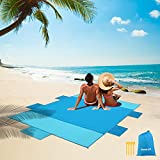 Coperta di spiaggia, materasso portatile in nylon di picnic Campeggio pieghevole impermeabile, tappetino da spiaggia all'aperto e di viaggio Mat con sacchetto portaoggetti e 4 pezzi posti da tavolo (Blu Scuro)