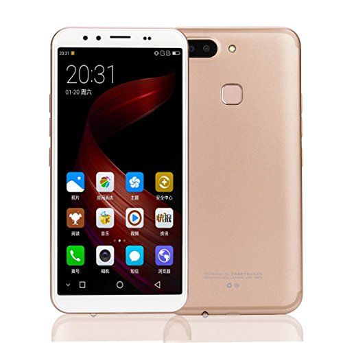"""Cell Phone 2+32GB Unlocked 5.8"""" HD Large Screen Android 6.0 with Dual SIM Quad-core Smartphone (Gold)"""