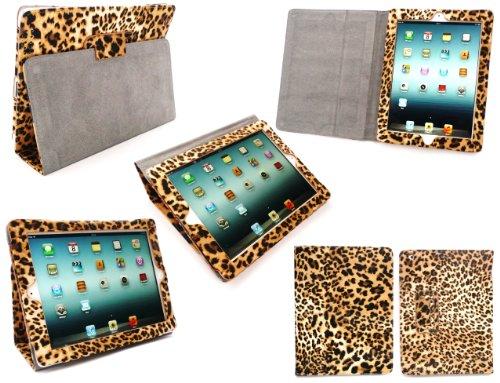 Emartbuy Neue iPad 3 & Apple iPad 2 Textured Leopard Brown Multifunktionale / Multi Angle Wallet / Cover / Stand / Typing-Gehäuse mit magnetischen Schlaf Wake-Sensor-Funktion (Alle Versionen Wi-Fi und Wi-Fi + 3G/4G - 16GB 32GB 64GB)
