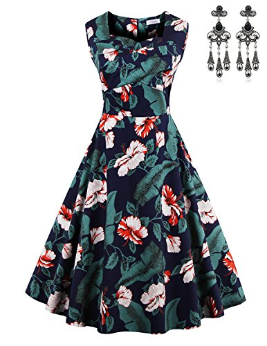 Modetrend Femmes Vintage 1950's Audrey Hepburn Robe de Soirée Cocktail Bal Audrey Hepburn Style Floral Années 50 Rockabilly Swing Robes Couleur 02