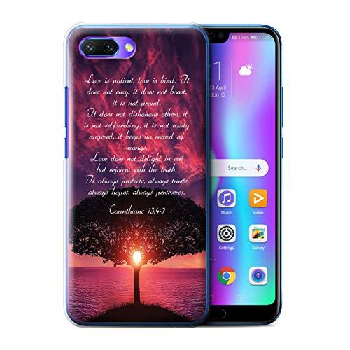 Stuff4® Hülle/Case für Huawei Honor 10 / Love is Patient/Corinthians Muster/Christliche Bibel Vers Kollektion