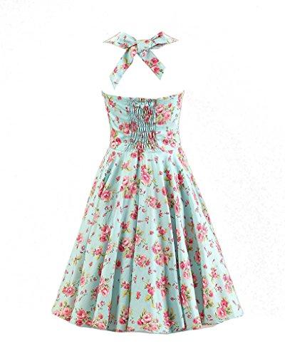 MISSMAO Vintage année 50's Rockabilly Floral Style Halter Rétro 1950's Audrey Hepburn Robe de Soirée cocktail Bleu Clair & Floral