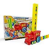 BSOL Domino Drag leksak, Domino Rally elektroniskt tåg modell färgglad leksaksset, flicka pojke barn gåva pussel leksak (röd)