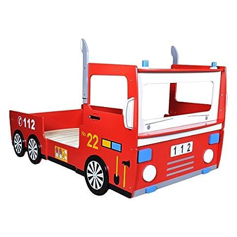 vidaXL Kinderbett Feuerwehrbett Spielbett Autobett Jugendbett Bett Lattenrost 200x90 cm