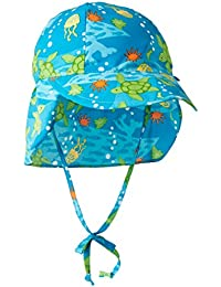 i play Classics Flap Sun Protection Hat for Unisex (6-18 Months, Infant, Aqua Turtle Journey)