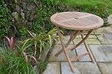Mortimer - Solid Teak - 80cm / 2.6ft Round Folding Garden Table - 2-4 Seater