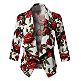 Luckycat Frauen 3/4 Ärmel Plus Kurzmantel mit offener Vorderseite Floral Cardigan Suit Jacket Work Coat Jacken Mäntel Sweatjacke Winterjacke Fleecejacke Steppjacke